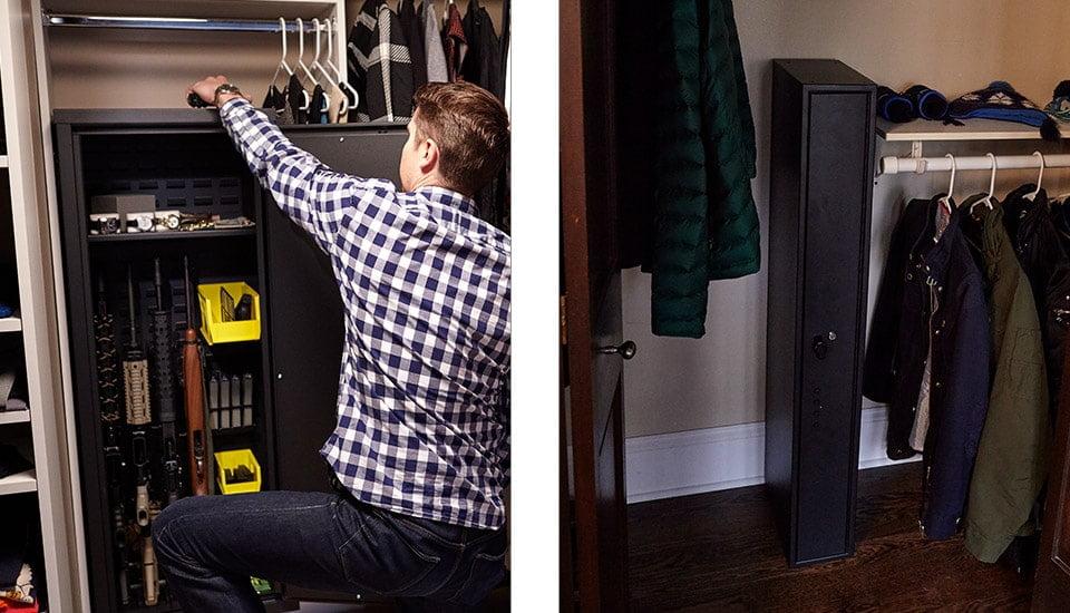 Nice Small Gun Safes Hidden In Closets Showing Man Quickly Getting Gun